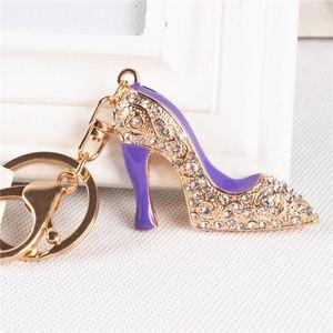 Ladies High-Heel Purple Shoe Keyring